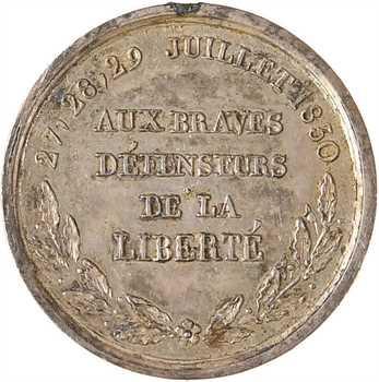 Louis-Philippe Ier, aux braves défenseurs des journées de 1830, médaillette argent par Dubois, 1830 Paris