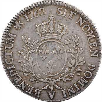 Louis XV, écu au bandeau, 1762 Troyes