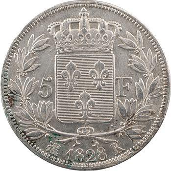 Charles X, 5 francs 2e type, 1828 Bordeaux