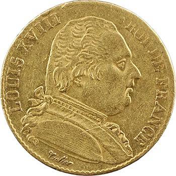 Louis XVIII, 20 francs buste habillé, 1815 Bayonne