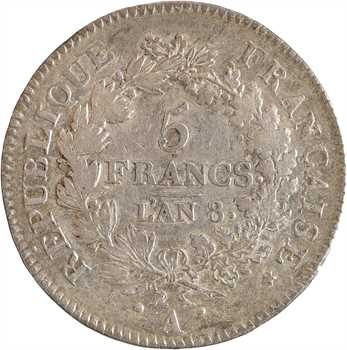 Directoire, 5 francs Union et Force, An 8 Paris