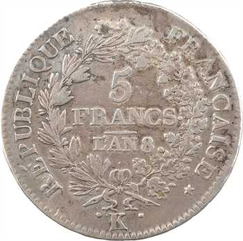 Directoire, 5 francs Union et Force [UNION serré, grande feuille, glands], An 8/6 Bordeaux
