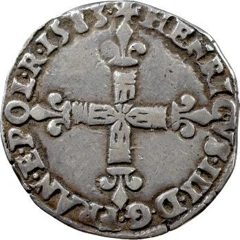 Henri III, quart d'écu croix de face, 1583 Bayonne