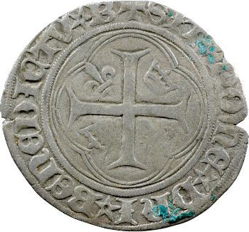 Charles VIII, blanc à la couronne, couronnelles renversées, Bourges