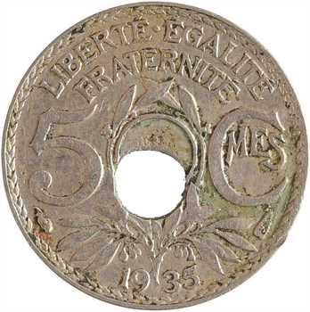 IIIe République, 5 centimes Lindauer, variété trou décentré, 1935 Paris