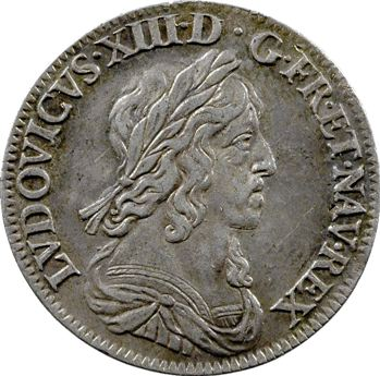 Louis XIII, quart d'écu d'argent, 3e type (2e poinçon), 1643 Paris