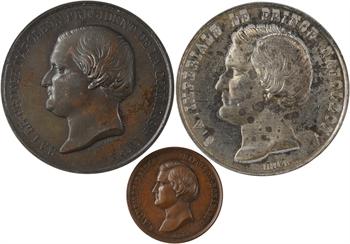 Second Empire, le Prince Napoléon, lot de 3 médailles de l'Exposition Universelle, 1855 Paris
