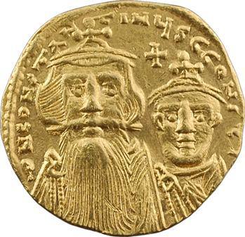 Constant II et Constantin IV, solidus, Constantinople, 9e officine, 654-659