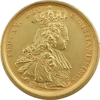 Louis XV, sacre à Reims le 25 octobre 1722, par J.-C. Roëttiers, cuivre doré, 1722 Paris