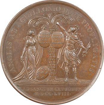 Louis XV, le débarquement britannique repoussé à la bataille de Saint-Cast, par Roëttiers, 1758 Paris