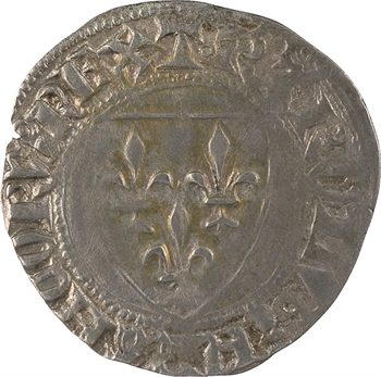 Charles VI, blanc guénar, 1re émission à l'O long, s.d. (1385-1389) Toulouse