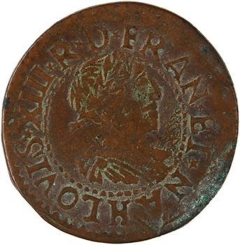 Louis XIII, double tournois 15e type, 1639 La Rochelle