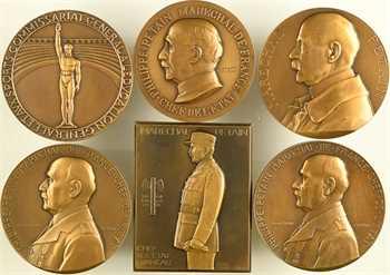IIe Guerre Mondiale, Maréchal Pétain, lot de 6 médailles par Cogné, Dammann, Poisson, Renard, Turin