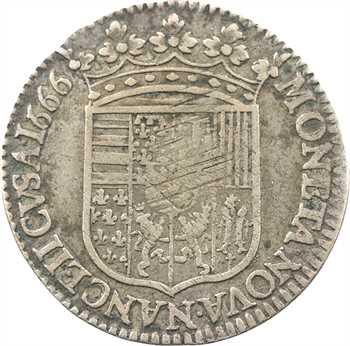 Lorraine (duché de), Charles IV, demi-teston, 1666 Nancy