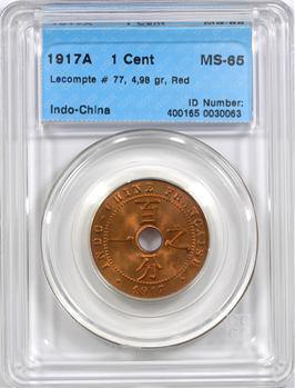 Indochine, 1 centième, coque CCCS MS65, 1917 Paris
