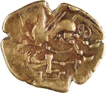 Aulerques Cénomans, statère d'or pâle au personnage aux deux armes, c.IIe-Ier s. av. J.-C