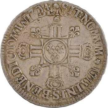 Louis XIV, écu aux huit L, 2e type, 1704 Reims