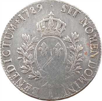 Louis XVI, écu aux branches d'olivier, 1789 Limoges