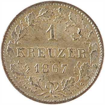 Allemagne, Wurtemberg (royaume de), Charles Ier, 1 kreuzer, 1867