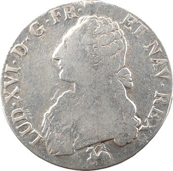Louis XVI, écu aux branches d'olivier, 1789 Rouen