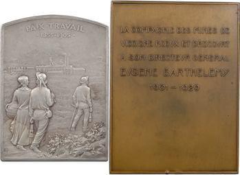 Mines : lot de 2 plaques, cinquantenaire des Mines de Bruay et Barthélémy directeur de Vicoigne, 1905 et 1929 Paris