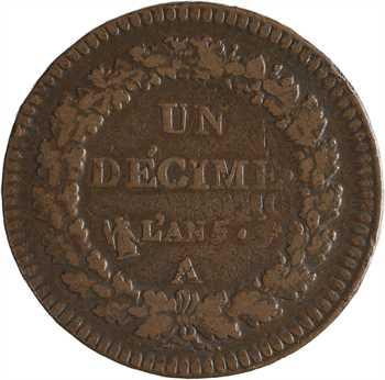 Directoire, un décime, refrappage du 2 décimes, An 5 Paris