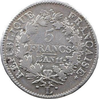 Consulat, 5 francs Union et Force, an 11 Bayonne