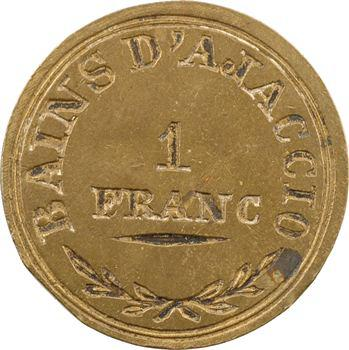 Corse, jeton uniface de 1 franc pour les Bains d'Ajaccio, s.d
