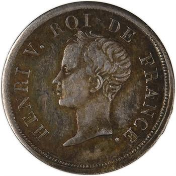 Henri V, 1/2 franc, 1833, variété frappe médaille, Bruxelles (Würden)
