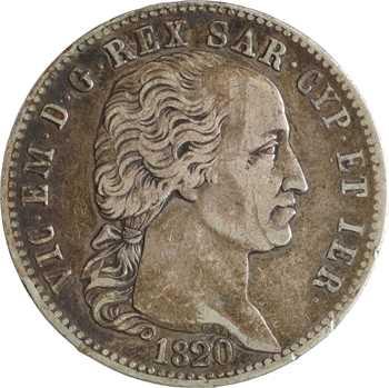 Italie, Savoie-Sardaigne, Victor-Emmanuel Ier, 5 lire, 1820 Turin