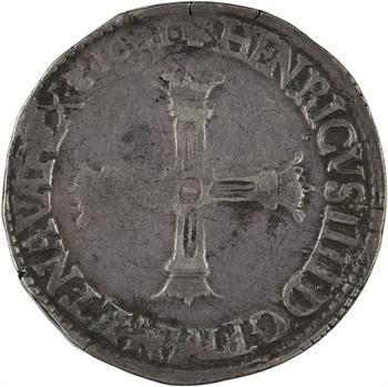 Henri IV, quart d'écu, croix bâtonnée et couronnée de face, 1601 Saint-Lô