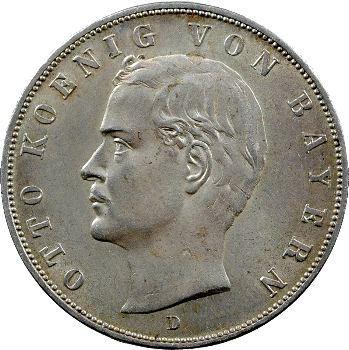 Allemagne, Bavière (royaume de), Othon, 3 mark, 1913 Munich