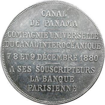 Panama, médaille des souscripteurs pour le percement de l'isthme, par Roty, 1880 Paris