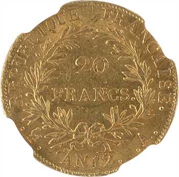 Premier Empire, 20 francs buste intermédiaire, An 12 Paris, NGC MS63