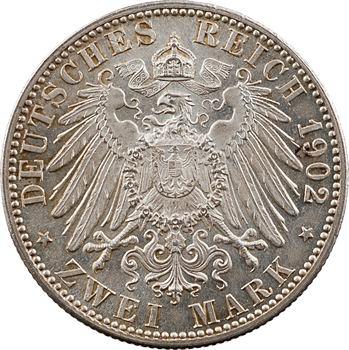 Allemagne, Bade (Grand-duché de), Frédéric I, 2 mark d'hommage, 1902 Karlsruhe