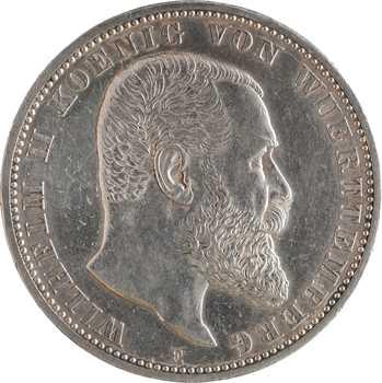 Allemagne, Wurtemberg (royaume de), Guillaume II, 5 mark, 1913 Stuttgart