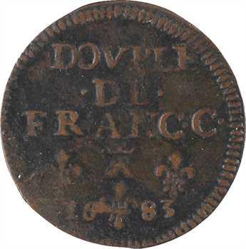 Bouillon (duché de), Godefroy-Maurice de La Tour, liard 7e type ou double de France, 1683 Sedan