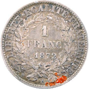 IIIe République, 1 franc Cérès, 1872 Paris