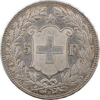 Suisse, Confédération helvétique, 5 francs, 1889 Berne