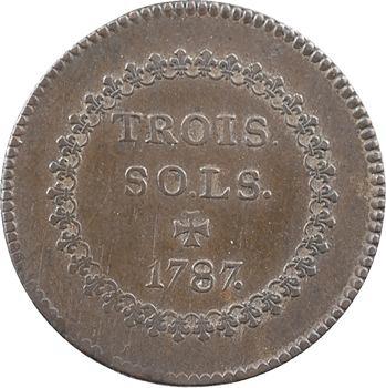 Colonies générales, Louis XVI, 3 sols par Droz, tranche striée, 1787 Limoges