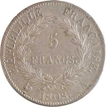 Premier Empire, 5 francs République, 1808 Paris