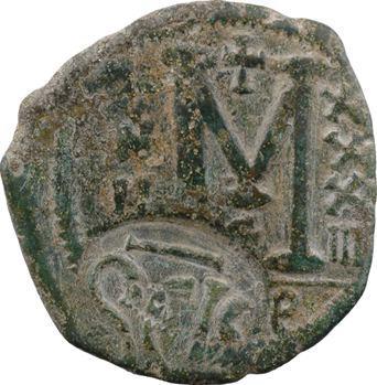 Héraclius, follis contremarqué sur un follis de Justinien Ier, c.616-622 Sicile