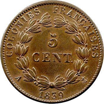 Louis-Philippe, 5 centimes des colonies françaises, 1839 Paris