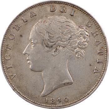 Royaume-Uni, Victoria, half-crown (demi-écu), 1840 Londres