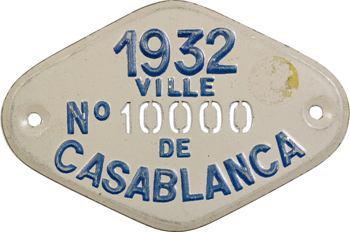 Maroc, Casablanca (ville de), plaque de taxe n° 10000, 1932