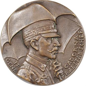 Allemagne/Italie, le Général Staff Luigi Cadorna et la défaite sur la rivière Isonzo, fonte satirique par Karl Goetz, 1916