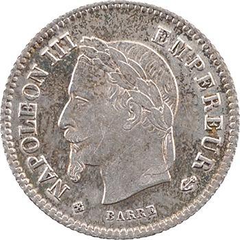 Second Empire, 20 centimes tête laurée grand module, 1867 Strasbourg