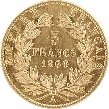 Second Empire, 5 francs tête nue, grand module, 1860 Paris