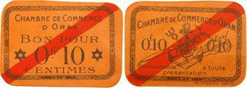 Algérie, Alger et Oran, lot de 3 billets de nécessité de 0,05 f, 0,10 f et 5 centimes, c.1920