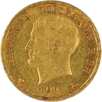 Italie, Napoléon Ier, 20 lire, 1809 Milan
